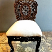 Anglo-Indian Carved Rosewood Side Chair