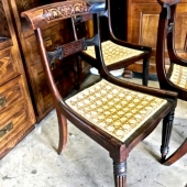 INLAID REGENCY DINING CHAIRS IN FAUX ROSEWOOD, KLISMOS FORM