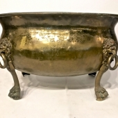 LARGE BRASS 19TH C. LOG BIN WITH LION MASK AND PAW FEET