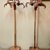 Pair Jansen-Style Palm Tree Floor Lamps
