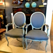 Pair Late 19th Century Italian Louis XV-Style Arm Chairs